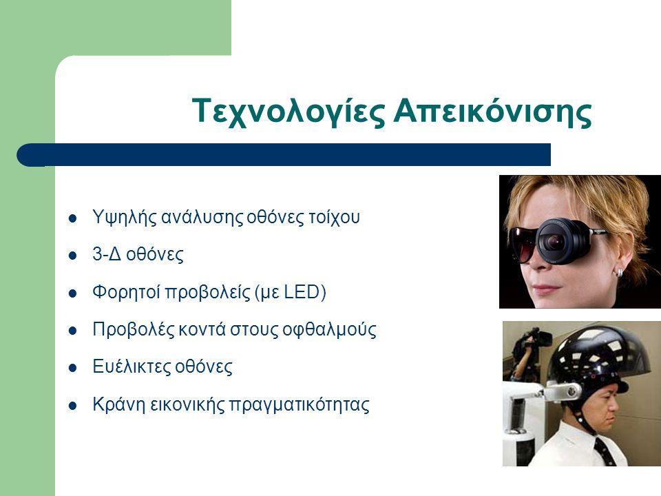 Τεχνολογίες Απεικόνισης Υψηλής ανάλυσης οθόνες τοίχου 3-Δ οθόνες Φορητοί προβολείς (με LED) Προβολές κοντά στους οφθαλμούς Ευέλικτες οθόνες Κράνη εικονικής πραγματικότητας