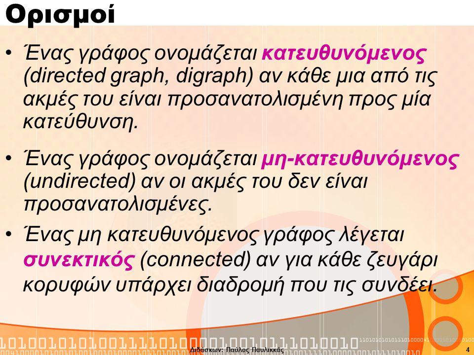 Ορισμοί Ένας γράφος ονομάζεται κατευθυνόμενος (directed graph, digraph) αν κάθε μια από τις ακμές του είναι προσανατολισμένη προς μία κατεύθυνση.