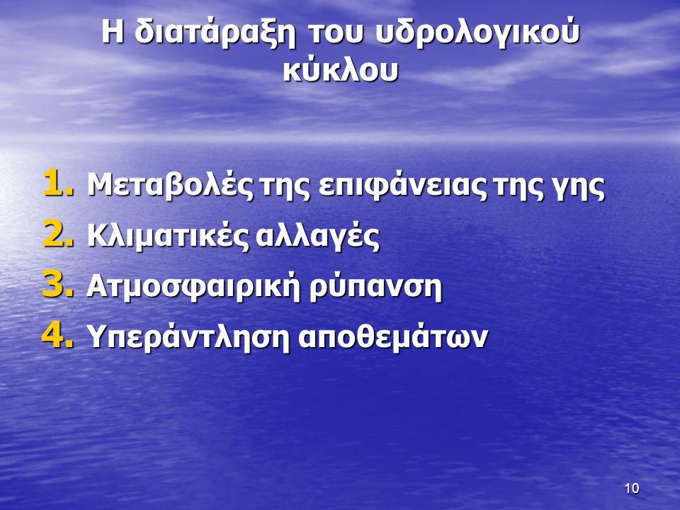 10 Η διατάραξη του υδρολογικού κύκλου 1. Μεταβολές της επιφάνειας της γης 2.