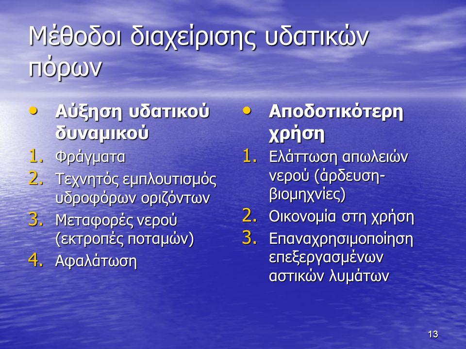 13 Μέθοδοι διαχείρισης υδατικών πόρων Αύξηση υδατικού δυναμικού Αύξηση υδατικού δυναμικού 1.