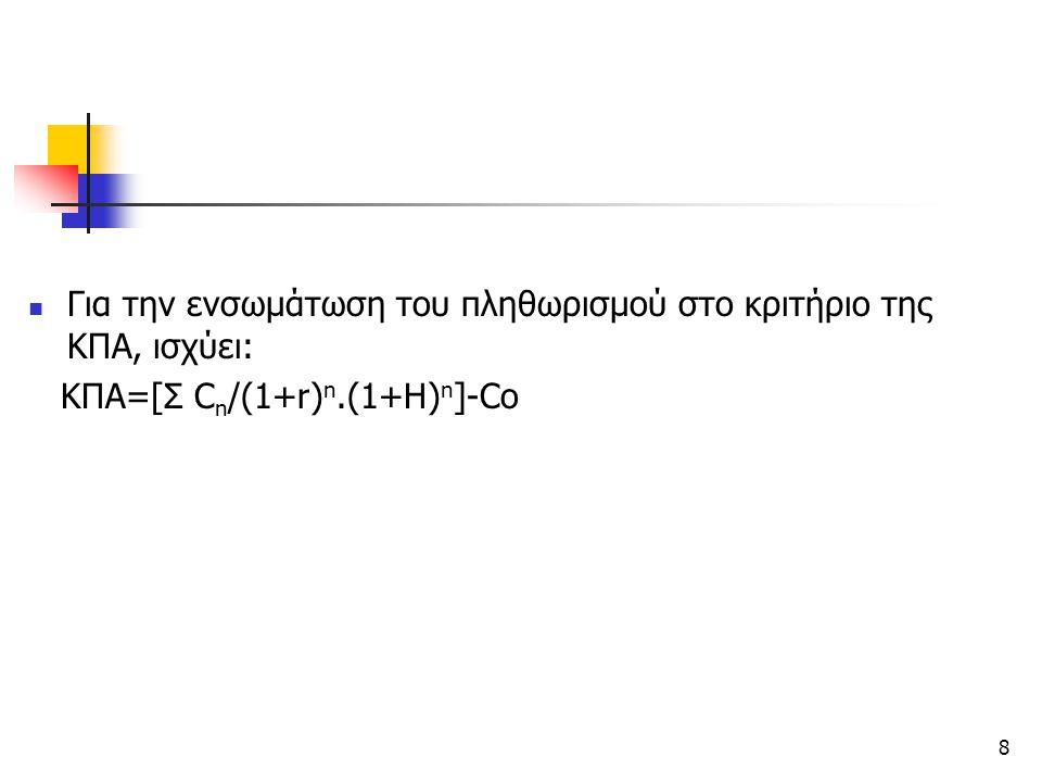 8 Για την ενσωμάτωση του πληθωρισμού στο κριτήριο της ΚΠΑ, ισχύει: ΚΠΑ=[Σ C n /(1+r) n.(1+H) n ]-Co