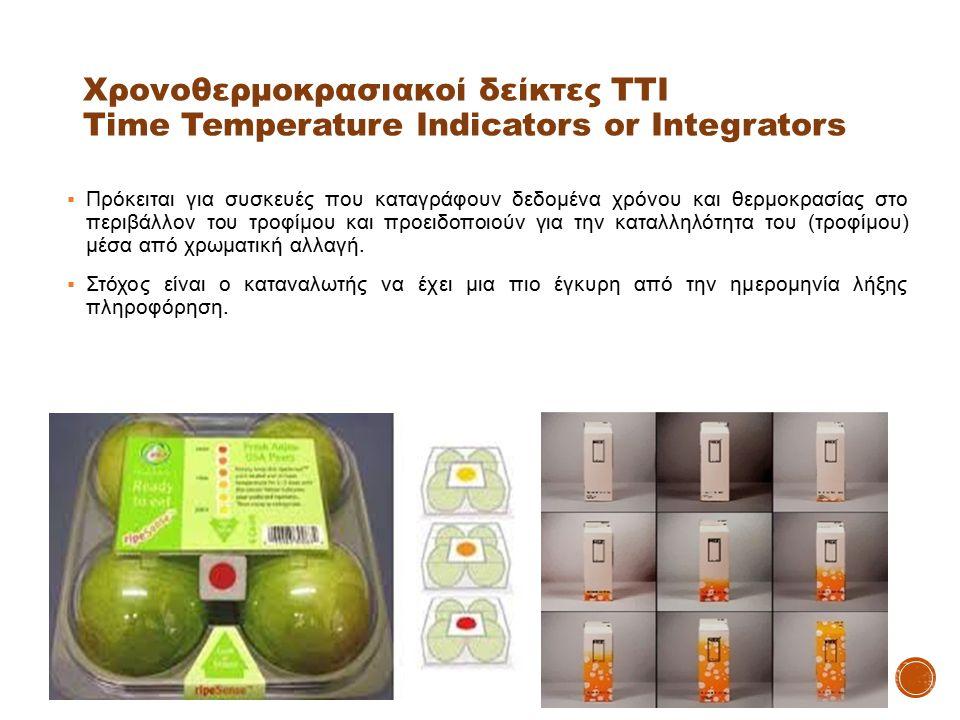 Χρονοθερμοκρασιακοί δείκτες ΤΤΙ Time Temperature Indicators or Integrators  Πρόκειται για συσκευές που καταγράφουν δεδομένα χρόνου και θερμοκρασίας σ
