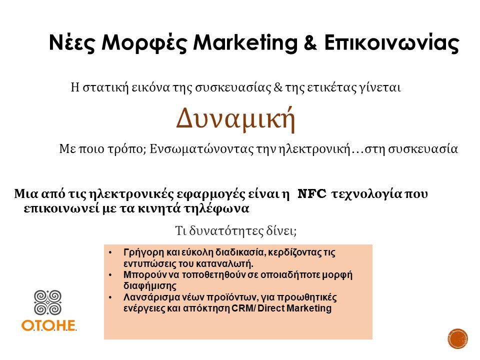 Νέες Μορφές Marketing & Επικοινωνίας Η στατική εικόνα της συσκευασίας & της ετικέτας γίνεται Δυναμική Με ποιο τρόπο ; Ενσωματώνοντας την ηλεκτρονική …