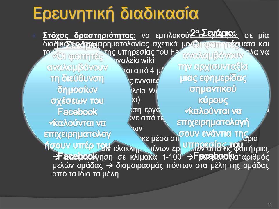 22 Ερευνητική διαδικασία  Στόχος δραστηριότητας: να εμπλακούν οι φοιτητές σε μία διαδικασία επιχειρηματολογίας σχετικά με τα πλεονεκτήματα και τα μειονεκτήματα της υπηρεσίας του Facebook και παράλληλα να εξοικειωθούν με το εργαλείο wiki  Η διαδικασία απαρτίζεται από 4 μέρη: Διδασκαλία για βασικές έννοιες των Wikis Εξοικείωση με το εργαλείο Wiki και εξάσκηση (π.χ.