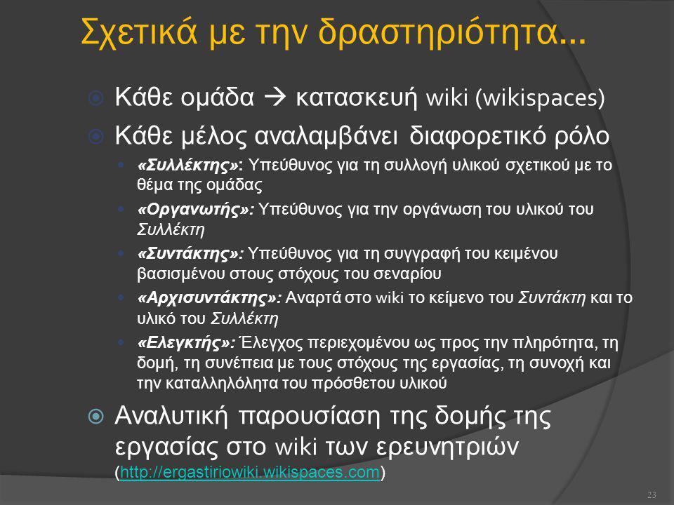 Σχετικά με την δραστηριότητα…  Κάθε ομάδα  κατασκευή wiki (wikispaces)  Κάθε μέλος αναλαμβάνει διαφορετικό ρόλο «Συλλέκτης»: Υπεύθυνος για τη συλλογή υλικού σχετικού με το θέμα της ομάδας «Οργανωτής»: Υπεύθυνος για την οργάνωση του υλικού του Συλλέκτη «Συντάκτης»: Υπεύθυνος για τη συγγραφή του κειμένου βασισμένου στους στόχους του σεναρίου «Αρχισυντάκτης»: Αναρτά στο wiki το κείμενο του Συντάκτη και το υλικό του Συλλέκτη «Ελεγκτής»: Έλεγχος περιεχομένου ως προς την πληρότητα, τη δομή, τη συνέπεια με τους στόχους της εργασίας, τη συνοχή και την καταλληλόλητα του πρόσθετου υλικού  Αναλυτική παρουσίαση της δομής της εργασίας στο wiki των ερευνητριών (http://ergastiriowiki.wikispaces.com)http://ergastiriowiki.wikispaces.com 23