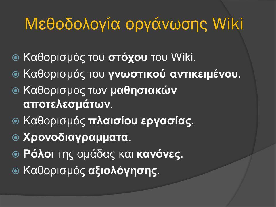 Μεθοδολογία οργάνωσης Wiki  Καθορισμός του στόχου του Wiki.