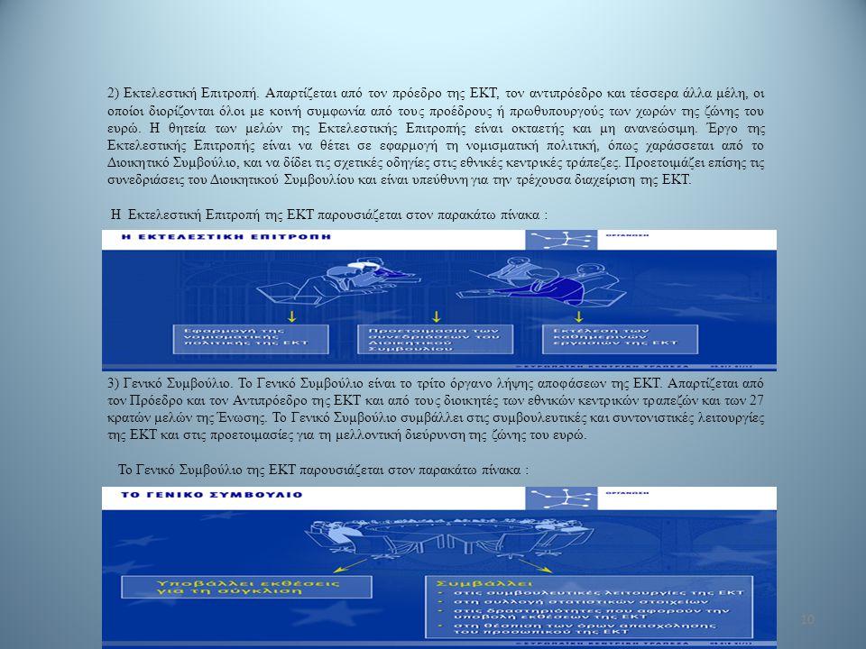 10 2) Εκτελεστική Επιτροπή. Απαρτίζεται από τον πρόεδρο της ΕΚΤ, τον αντιπρόεδρο και τέσσερα άλλα μέλη, οι οποίοι διορίζονται όλοι με κοινή συμφωνία α