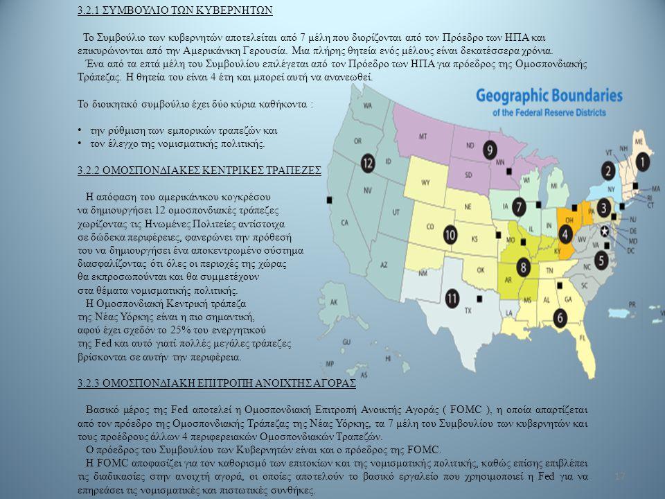 17 3.2.1 ΣΥΜΒΟΥΛΙΟ ΤΩΝ ΚΥΒΕΡΝΗΤΩΝ Το Συμβούλιο των κυβερνητών αποτελείται από 7 μέλη που διορίζονται από τον Πρόεδρο των ΗΠΑ και επικυρώνονται από την