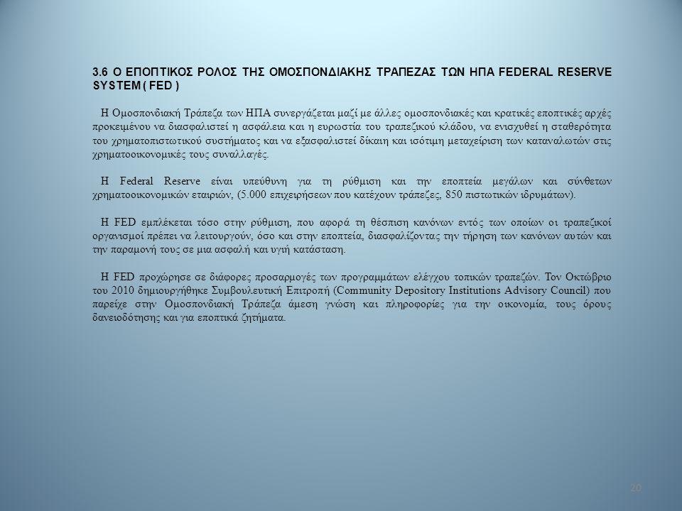 20 3.6 Ο ΕΠΟΠΤΙΚΟΣ ΡΟΛΟΣ ΤΗΣ ΟΜΟΣΠΟΝΔΙΑΚΗΣ ΤΡΑΠΕΖΑΣ ΤΩΝ ΗΠΑ FEDERAL RESERVE SYSTEM ( FED ) Η Ομοσπονδιακή Τράπεζα των ΗΠΑ συνεργάζεται μαζί με άλλες ο