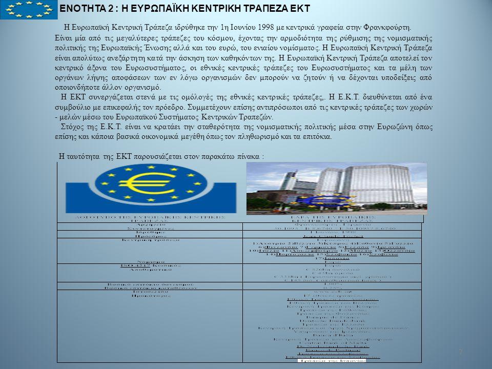 7 ΕΝΟΤΗΤΑ 2 : Η ΕΥΡΩΠΑΪΚΗ ΚΕΝΤΡΙΚΗ ΤΡΑΠΕΖΑ ΕΚΤ Η Ευρωπαϊκή Κεντρική Τράπεζα ιδρύθηκε την 1η Ιουνίου 1998 με κεντρικά γραφεία στην Φρανκφούρτη. Είναι μ