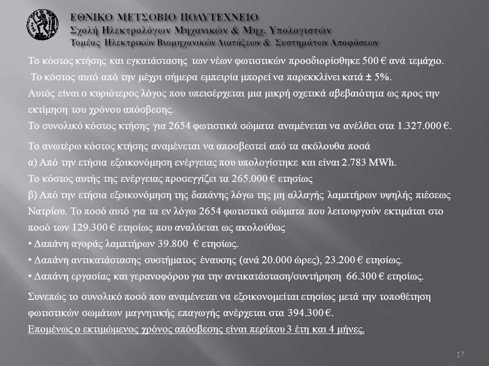 Το κόστος κτήσης και εγκατάστασης των νέων φωτιστικών προσδιορίσθηκε 500 € ανά τεμάχιο. Το κόστος αυτό από την μέχρι σήμερα εμπειρία μπορεί να παρεκκλ