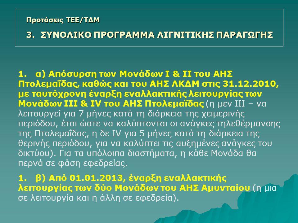 1. α) Απόσυρση των Μονάδων Ι & ΙΙ του ΑΗΣ Πτολεμαΐδας, καθώς και του ΑΗΣ ΛΚΔΜ στις 31.12.2010, με ταυτόχρονη έναρξη εναλλακτικής λειτουργίας των Μονάδ