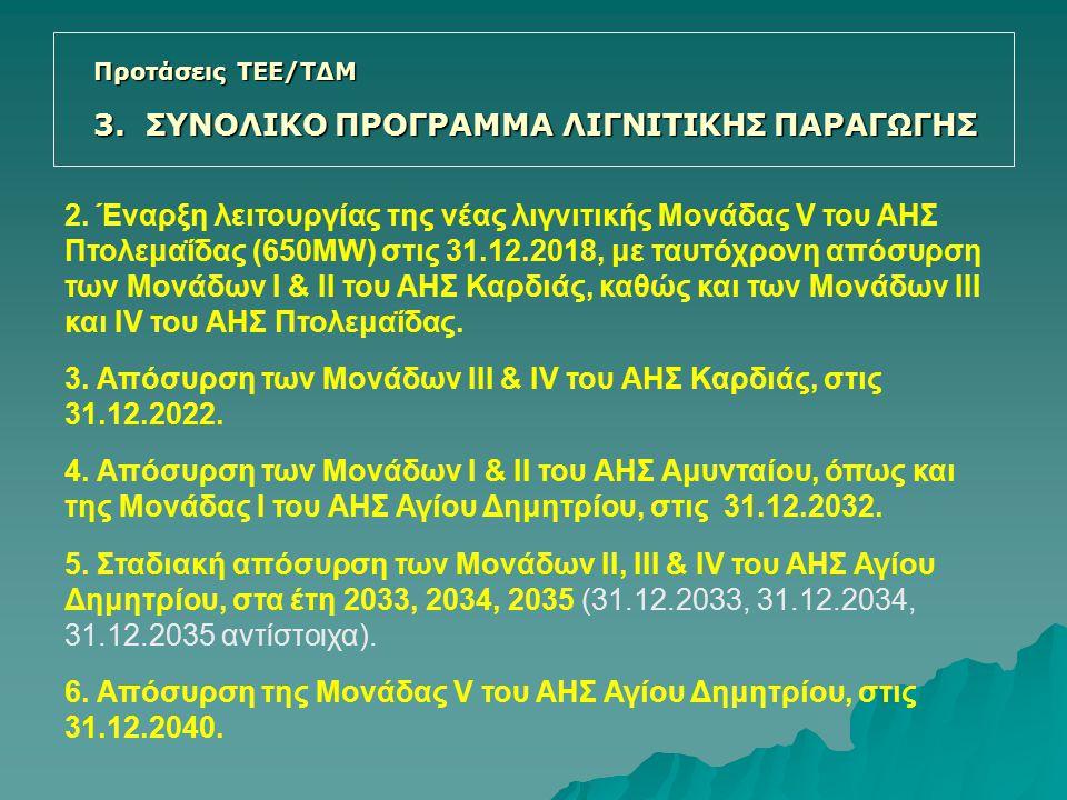 2. Έναρξη λειτουργίας της νέας λιγνιτικής Μονάδας V του ΑΗΣ Πτολεμαΐδας (650MW) στις 31.12.2018, με ταυτόχρονη απόσυρση των Μονάδων Ι & ΙΙ του ΑΗΣ Καρ