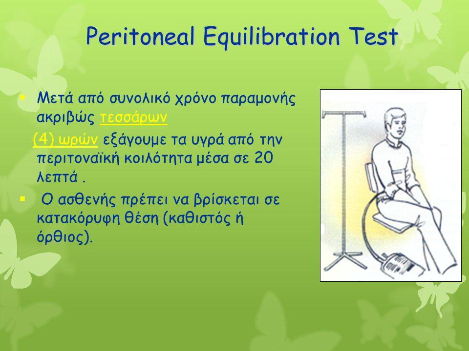 Peritoneal Equilibration Test  Μετά από συνολικό χρόνο παραμονής ακριβώς τεσσάρων (4) ωρών εξάγουμε τα υγρά από την περιτοναϊκή κοιλότητα μέσα σε 20