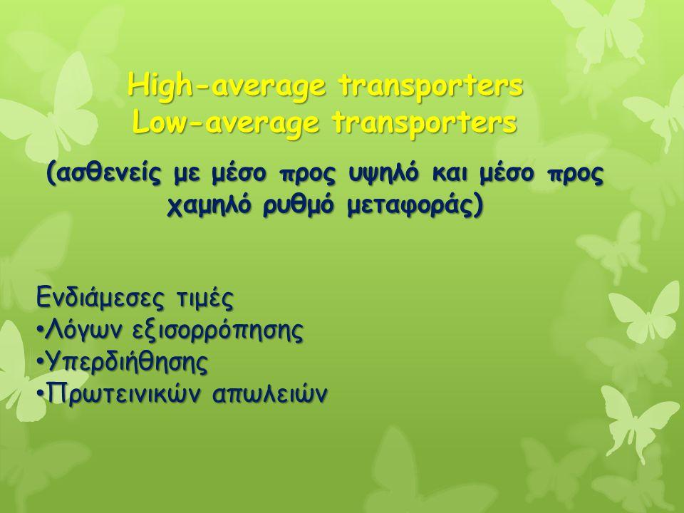 High-average transporters Low-average transporters (ασθενείς με μέσο προς υψηλό και μέσο προς χαμηλό ρυθμό μεταφοράς) Ενδιάμεσες τιμές Λόγων εξισορρόπ