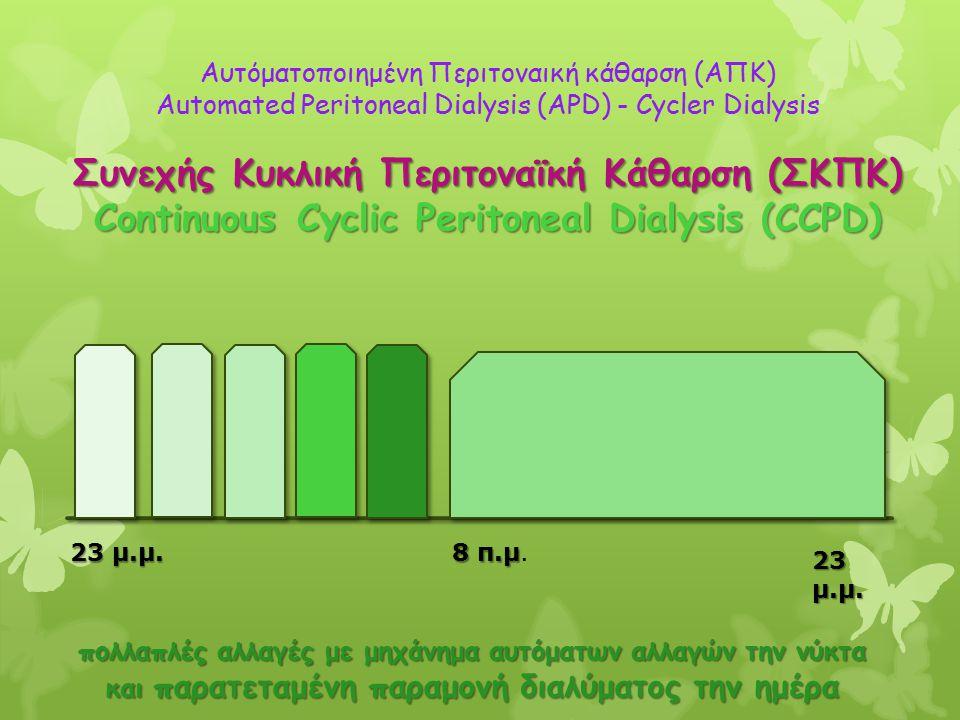 23 μ.μ. 8 π.μ 8 π.μ. 23 μ.μ. Αυτόματοποιημένη Περιτοναική κάθαρση (ΑΠΚ) Automated Peritoneal Dialysis (APD) - Cycler Dialysis Συνεχής Κυκλική Περιτονα