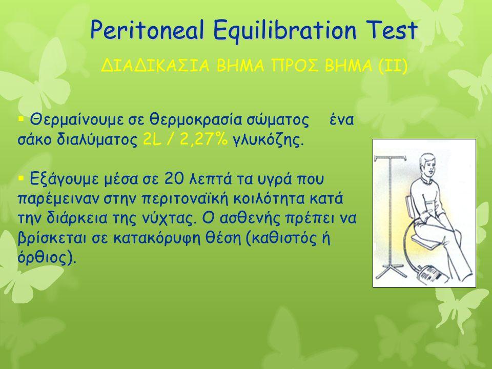 Peritoneal Equilibration Test  Θερμαίνουμε σε θερμοκρασία σώματος ένα σάκο διαλύματος 2L / 2,27% γλυκόζης.  Εξάγουμε μέσα σε 20 λεπτά τα υγρά που πα