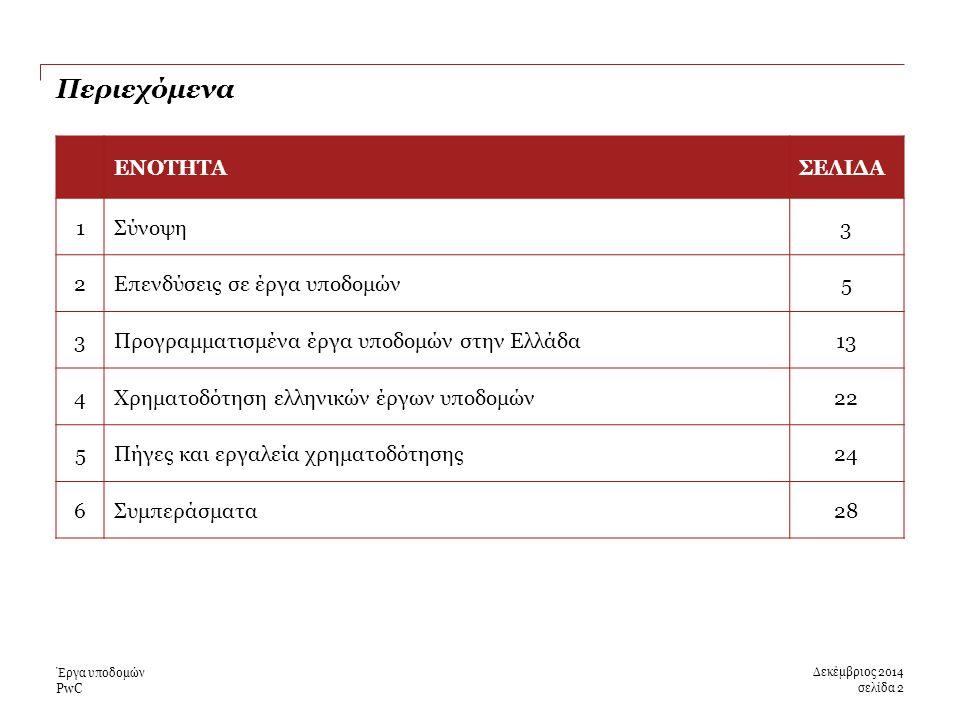 PwC Περιεχόμενα Έργα υποδομών ΕΝΟΤΗΤΑΣΕΛΙΔΑ 1Σύνοψη3 2Επενδύσεις σε έργα υποδομών5 3Προγραμματισμένα έργα υποδομών στην Ελλάδα13 4Χρηματοδότηση ελληνικών έργων υποδομών22 5Πήγες και εργαλεία χρηματοδότησης24 6Συμπεράσματα28 σελίδα 2 Δεκέμβριος 2014