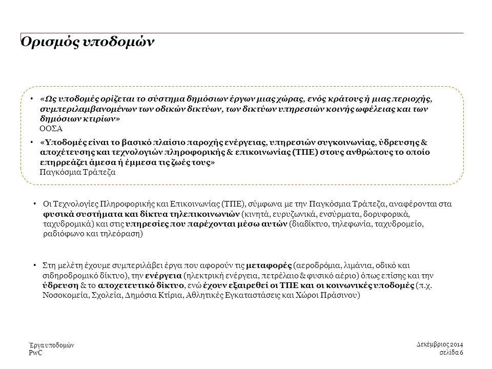 PwC Ορισμός υποδομών Δεκέμβριος 2014 σελίδα 6 Έργα υποδομών «Ως υποδομές ορίζεται το σύστημα δημόσιων έργων μιας χώρας, ενός κράτους ή μιας περιοχής, συμπεριλαμβανομένων των οδικών δικτύων, των δικτύων υπηρεσιών κοινής ωφέλειας και των δημόσιων κτιρίων» ΟΟΣΑ «Υποδομές είναι το βασικό πλαίσιο παροχής ενέργειας, υπηρεσιών συγκοινωνίας, ύδρευσης & αποχέτευσης και τεχνολογιών πληροφορικής & επικοινωνίας (ΤΠΕ) στους ανθρώπους το οποίο επηρρεάζει άμεσα ή έμμεσα τις ζωές τους» Παγκόσμια Τράπεζα Οι Τεχνολογίες Πληροφορικής και Επικοινωνίας (ΤΠΕ), σύμφωνα με την Παγκόσμια Τράπεζα, αναφέρονται στα φυσικά συστήματα και δίκτυα τηλεπικοινωνιών (κινητά, ευρυζωνικά, ενσύρματα, δορυφορικά, ταχυδρομικά) και στις υπηρεσίες που παρέχονται μέσω αυτών (διαδίκτυο, τηλεφωνία, ταχυδρομείο, ραδιόφωνο και τηλεόραση) Στη μελέτη έχουμε συμπεριλάβει έργα που αφορούν τις μεταφορές (αεροδρόμια, λιμάνια, οδικό και σιδηροδρομικό δίκτυο), την ενέργεια (ηλεκτρική ενέργεια, πετρέλαιο & φυσικό αέριο) όπως επίσης και την ύδρευση & το αποχετευτικό δίκτυο, ενώ έχουν εξαιρεθεί οι ΤΠΕ και οι κοινωνικές υποδομές (π.χ.