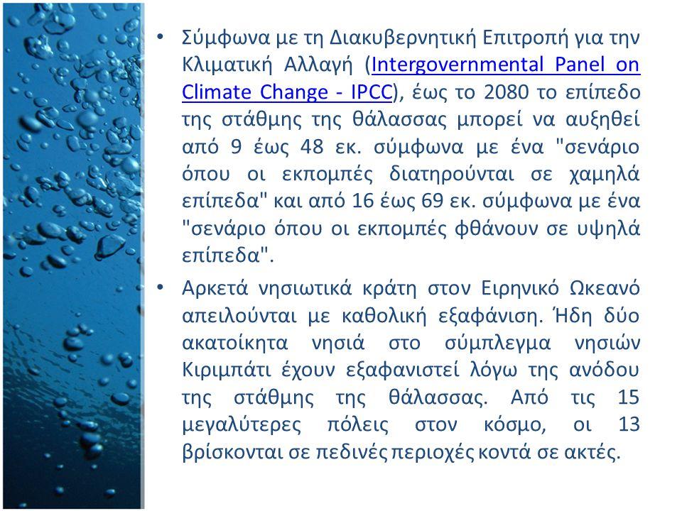 Σύμφωνα με τη Διακυβερνητική Επιτροπή για την Κλιματική Αλλαγή (Intergovernmental Panel on Climate Change - IPCC), έως το 2080 το επίπεδο της στάθμης της θάλασσας μπορεί να αυξηθεί από 9 έως 48 εκ.