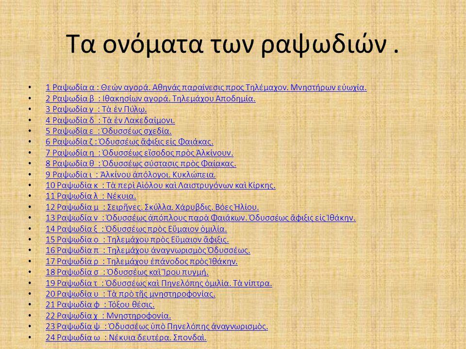 Τα ονόματα των ραψωδιών. 1 Ραψωδία α : Θεών αγορά. Αθηνάς παραίνεσις προς Τηλέμαχον. Μνηστήρων εὐωχία. 2 Ραψωδία β : Ιθακησίων αγορά. Τηλεμάχου Αποδημ