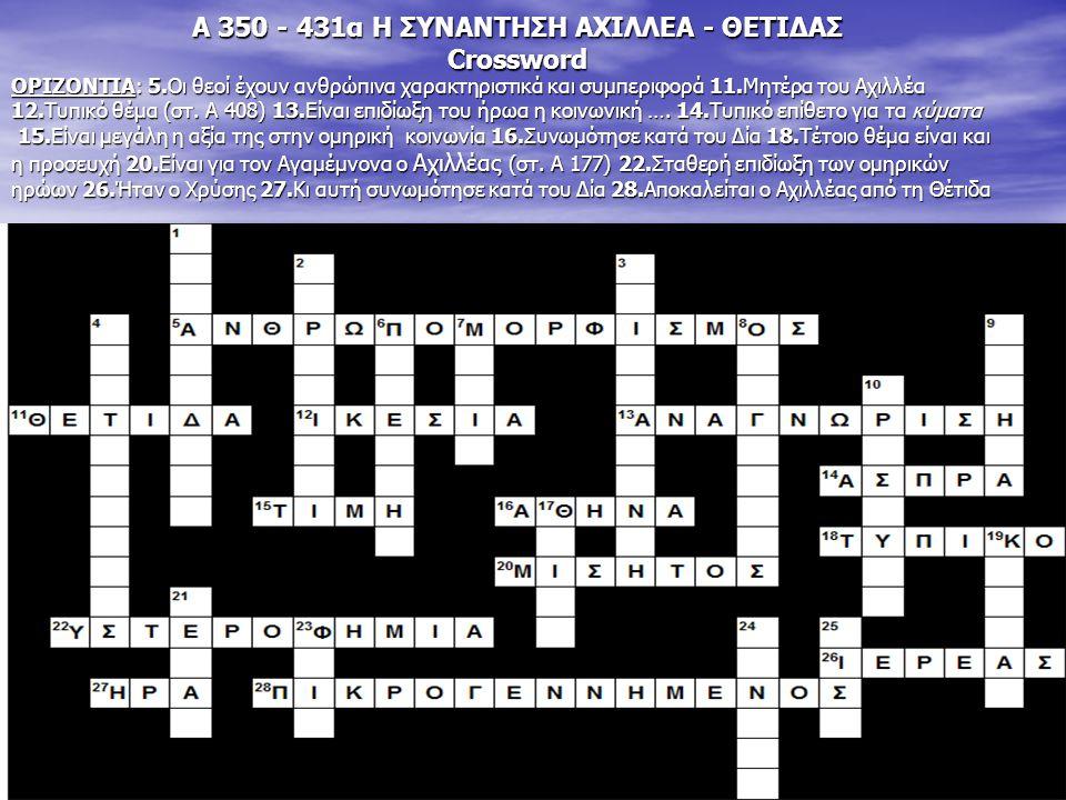 Α 350 - 431α Η ΣΥΝΑΝΤΗΣΗ ΑΧΙΛΛΕΑ - ΘΕΤΙΔΑΣ Crossword ΟΡΙΖΟΝΤΙΑ: 5.Οι θεοί έχουν ανθρώπινα χαρακτηριστικά και συμπεριφορά 11.Μητέρα του Αχιλλέα 12.Τυπι