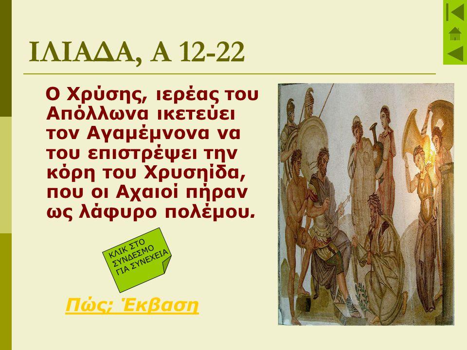 ΙΚΕΣΙΑ ΤΟΥ ΧΡΥΣΗ Ο ικέτης Χρύσης  Προσφέρει δώρα, λύτρα στον Αγαμέμνονα  Μιλάει εγκωμιαστικά, κολακευτικά για τους Αχαιούς  Δίνει ευχές για επιτυχία  Επικαλείται το θεό Απόλλωνα Ο ικετευόμενος Αγαμέμνονας  αρνείται την ικεσία και φέρεται προσβλητικά στο Χρύση  Η ύβρη τιμωρείται με λοιμό, που προκαλεί ο Απόλλωνας και αποδεκατίζει τους Αχαιούς