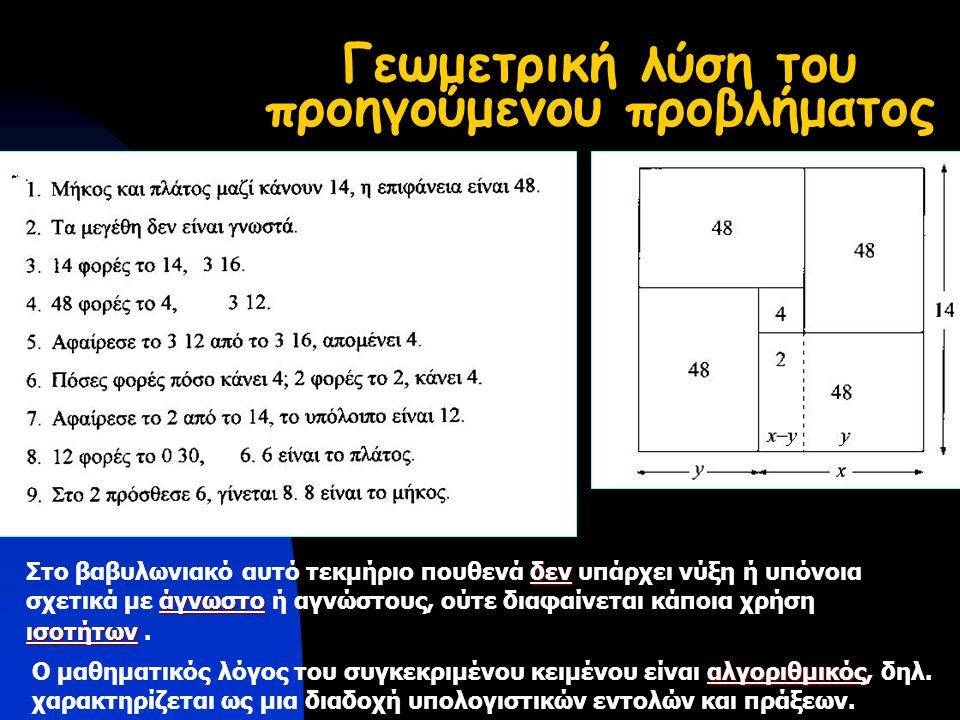 Γεωμετρική λύση του προηγούμενου προβλήματος δεν Στο βαβυλωνιακό αυτό τεκμήριο πουθενά δεν υπάρχει νύξη ή υπόνοια άγνωστο σχετικά με άγνωστο ή αγνώστους, ούτε διαφαίνεται κάποια χρήση ισοτήτων ισοτήτων.