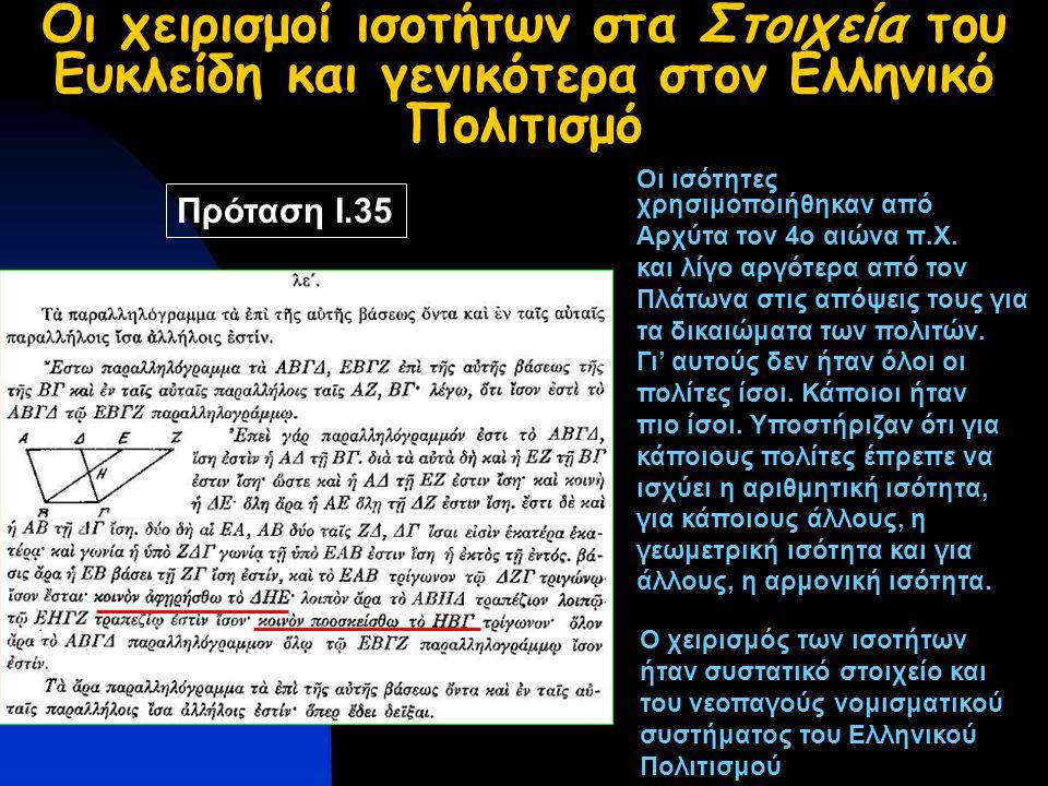 Οι χειρισμοί ισοτήτων στα Στοιχεία του Ευκλείδη και γενικότερα στον Ελληνικό Πολιτισμό Πρόταση Ι.35 Οι ισότητες χρησιμοποιήθηκαν από Αρχύτα τον 4ο αιώνα π.Χ.