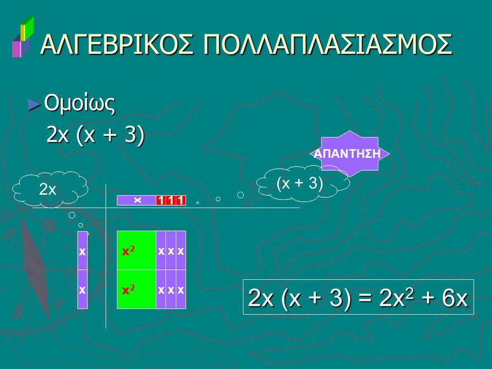 ► Ομοίως 2x (x + 3) 2x (x + 3) ΑΛΓΕΒΡΙΚΟΣ ΠΟΛΛΑΠΛΑΣΙΑΣΜΟΣ ΑΠΑΝΤΗΣΗ x 11 2x 2x (x + 3) = 2x 2 + 6x x x2x2 xx (x + 3) x 1 x x2x2 xxx