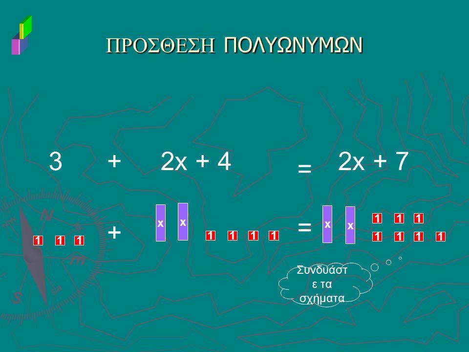 ΠΡΟΣΘΕΣΗ ΠΟΛΥΩΝΥΜΩΝ 3+2x + 4 111 x x 11 1 1 = 2x + 7 x x 1111 111 + = Συνδυάστ ε τα σχήματα