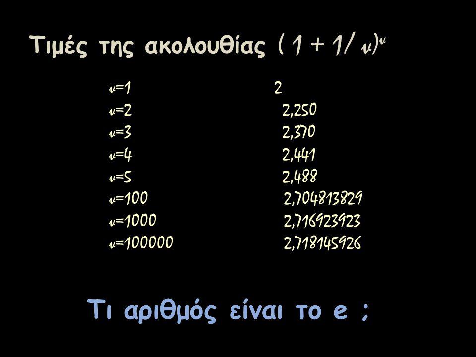Τιμές της ακολουθίας ( 1 + 1/ ν) ν ν=1 2 ν=2 2,250 ν=3 2,370 ν=4 2,441 ν=5 2,488 ν=100 2,704813829 ν=1000 2,716923923 ν=100000 2,718145926