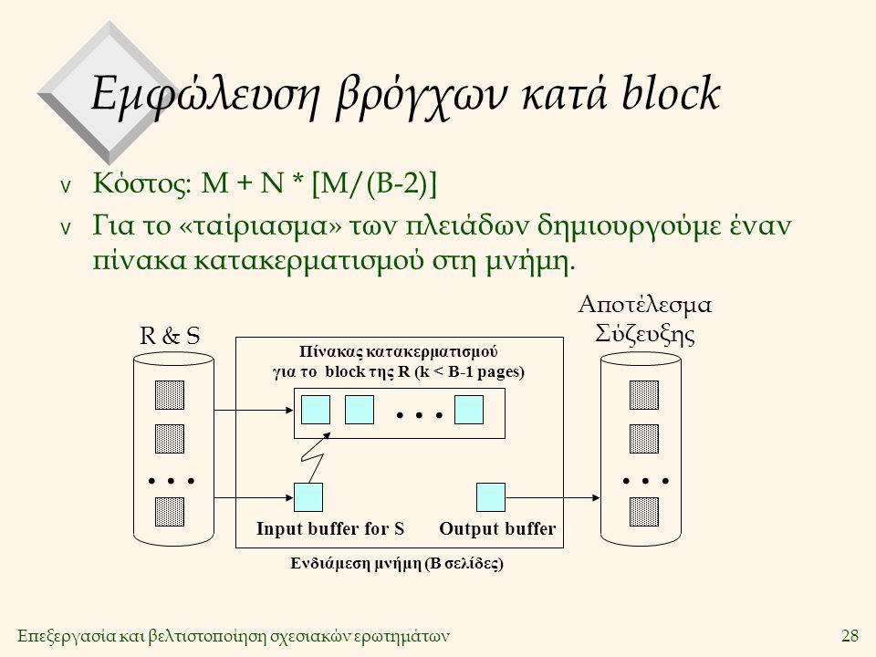 Επεξεργασία και βελτιστοποίηση σχεσιακών ερωτημάτων28 Εμφώλευση βρόγχων κατά block v Κόστος: Μ + Ν * [Μ/(Β-2)] v Για το «ταίριασμα» των πλειάδων δημιουργούμε έναν πίνακα κατακερματισμού στη μνήμη....