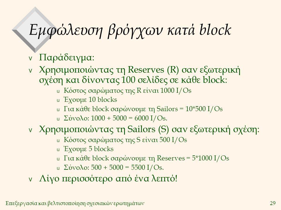 Επεξεργασία και βελτιστοποίηση σχεσιακών ερωτημάτων29 Εμφώλευση βρόγχων κατά block v Παράδειγμα: v Χρησιμοποιώντας τη Reserves (R) σαν εξωτερική σχέση και δίνοντας 100 σελίδες σε κάθε block: u Κόστος σαρώματος της R είναι 1000 Ι/Οs u Έχουμε 10 blocks u Για κάθε block σαρώνουμε τη Sailors = 10*500 Ι/Οs u Σύνολο: 1000 + 5000 = 6000 Ι/Οs.