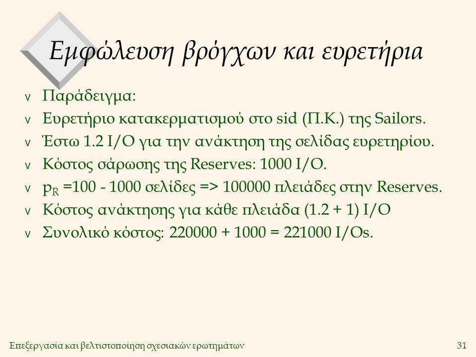Επεξεργασία και βελτιστοποίηση σχεσιακών ερωτημάτων31 Εμφώλευση βρόγχων και ευρετήρια v Παράδειγμα: v Ευρετήριο κατακερματισμού στο sid (Π.Κ.) της Sailors.