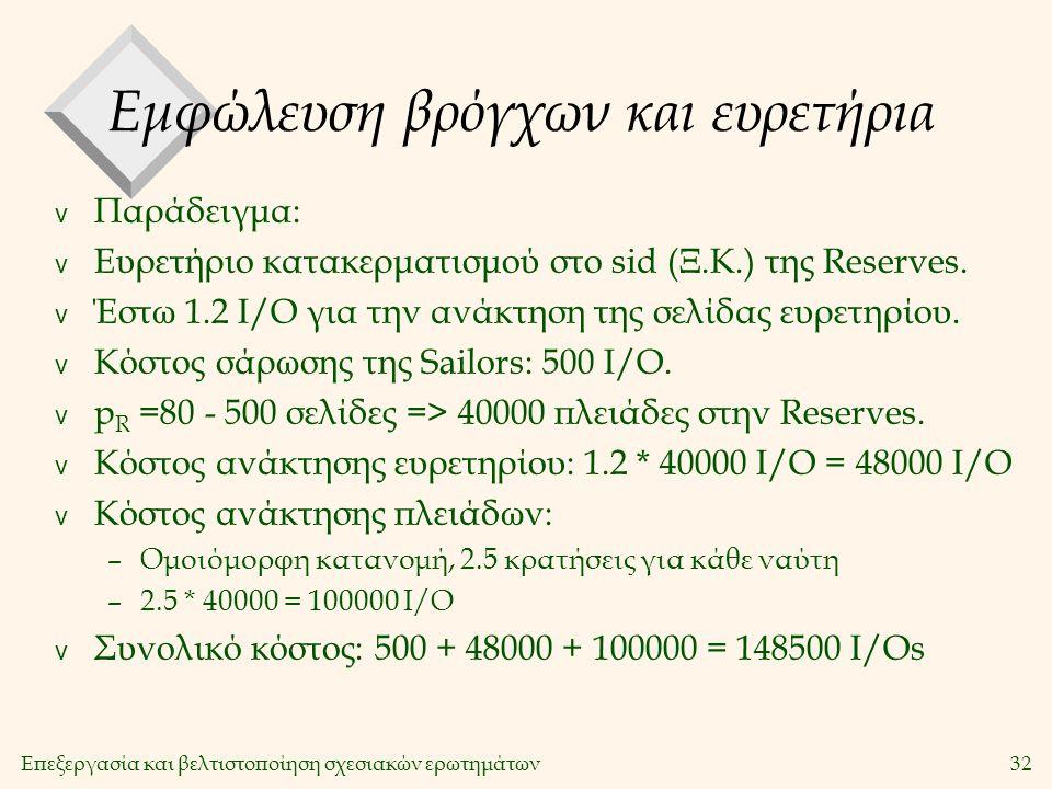 Επεξεργασία και βελτιστοποίηση σχεσιακών ερωτημάτων32 Εμφώλευση βρόγχων και ευρετήρια v Παράδειγμα: v Ευρετήριο κατακερματισμού στο sid (Ξ.Κ.) της Reserves.