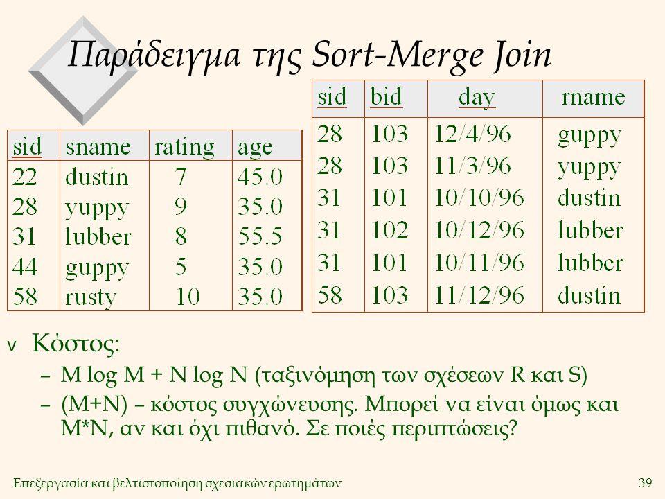 Επεξεργασία και βελτιστοποίηση σχεσιακών ερωτημάτων39 Παράδειγμα της Sort-Merge Join v Κόστος: –M log M + N log N (ταξινόμηση των σχέσεων R και S) –(M+N) – κόστος συγχώνευσης.