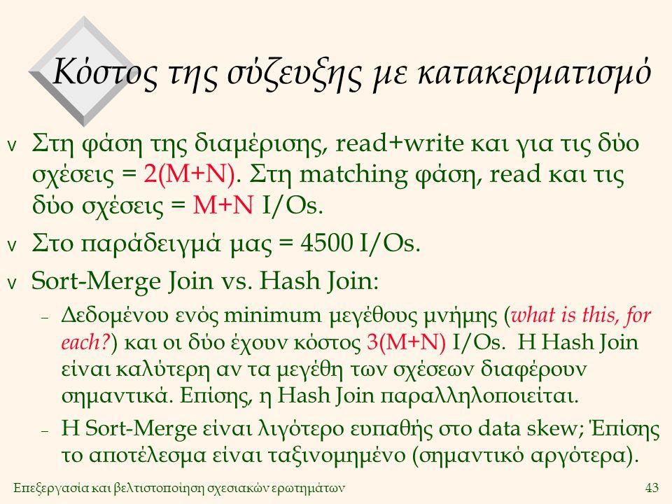 Επεξεργασία και βελτιστοποίηση σχεσιακών ερωτημάτων43 Κόστος της σύζευξης με κατακερματισμό v Στη φάση της διαμέρισης, read+write και για τις δύο σχέσεις = 2(M+N).