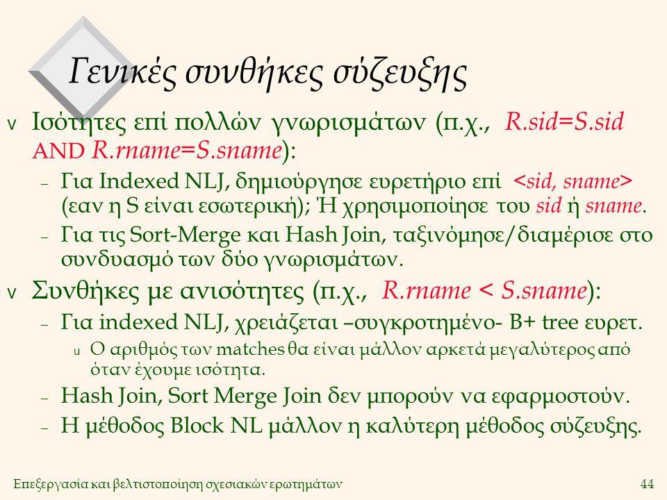 Επεξεργασία και βελτιστοποίηση σχεσιακών ερωτημάτων44 Γενικές συνθήκες σύζευξης v Ισότητες επί πολλών γνωρισμάτων (π.χ., R.sid=S.sid AND R.rname=S.sname ): – Για Indexed NLJ, δημιούργησε ευρετήριο επί (εαν η S είναι εσωτερική); Ή χρησιμοποίησε του sid ή sname.