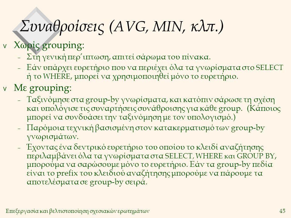 Επεξεργασία και βελτιστοποίηση σχεσιακών ερωτημάτων45 Συναθροίσεις ( AVG, MIN, κλπ.) v Χωρίς grouping: – Στη γενική περ'ιπτωση, απιτεί σάρωμα του πίνακα.