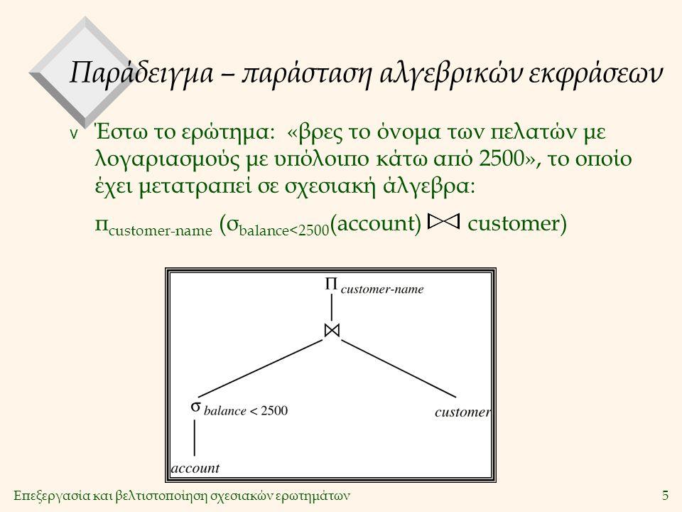Επεξεργασία και βελτιστοποίηση σχεσιακών ερωτημάτων5 Παράδειγμα – παράσταση αλγεβρικών εκφράσεων v Έστω το ερώτημα: «βρες το όνομα των πελατών με λογαριασμούς με υπόλοιπο κάτω από 2500», το οποίο έχει μετατραπεί σε σχεσιακή άλγεβρα: π customer-name (σ balance<2500 (account) customer)