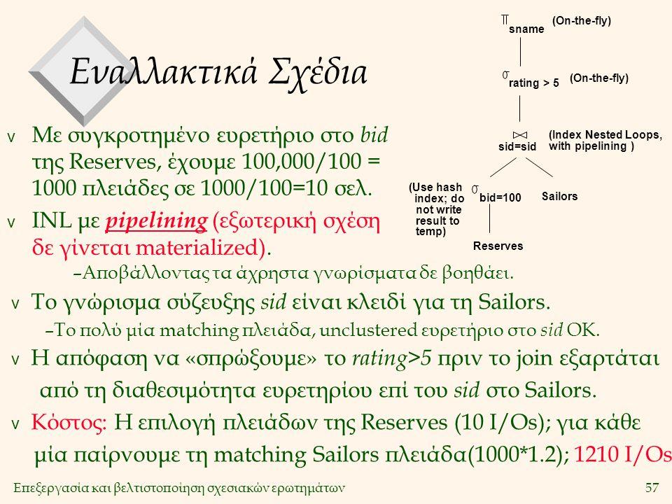 Επεξεργασία και βελτιστοποίηση σχεσιακών ερωτημάτων57 Εναλλακτικά Σχέδια v Με συγκροτημένο ευρετήριο στο bid της Reserves, έχουμε 100,000/100 = 1000 πλειάδες σε 1000/100=10 σελ.