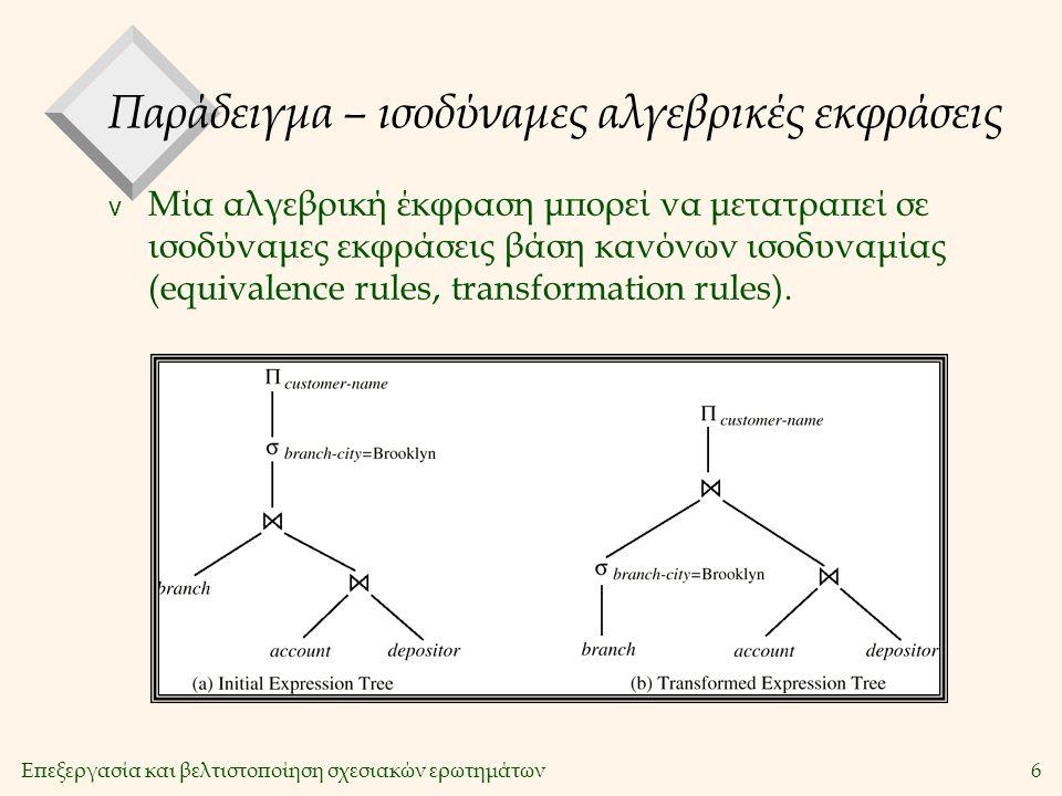 Επεξεργασία και βελτιστοποίηση σχεσιακών ερωτημάτων17 Η πράξη της Προβολής v Μετατρέπεται σε π R.sid, R.bid (Reserves) v Απαραίτητα βήματα: –Απομάκρυνση των άχρηστων γνωρισμάτων –Απομάκρυνση των παραγόμενων διπλότυπων v Αλγόριθμοι: –Ταξινόμηση –Κατακερματισμός SELECT DISTINCT R.sid, R.bid FROM Reserves R