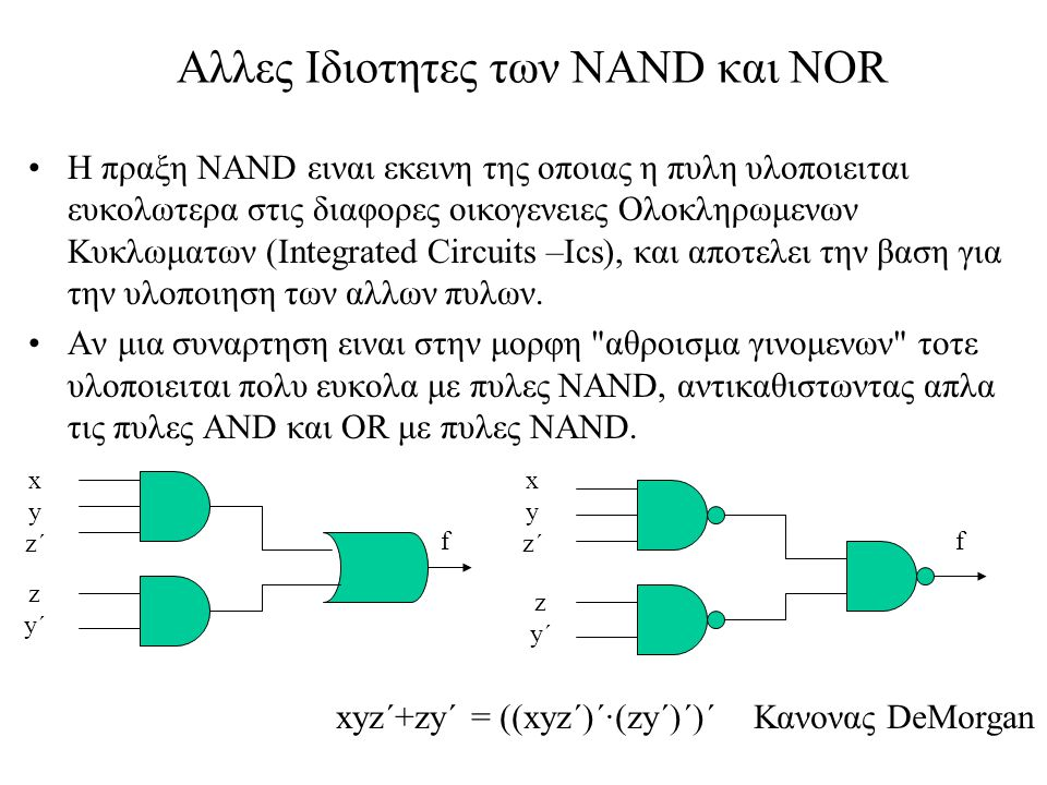 Αλλες Ιδιοτητες των NAND και NOR Η πραξη NAND ειναι εκεινη της οποιας η πυλη υλοποιειται ευκολωτερα στις διαφορες οικογενειες Ολοκληρωμενων Κυκλωματων