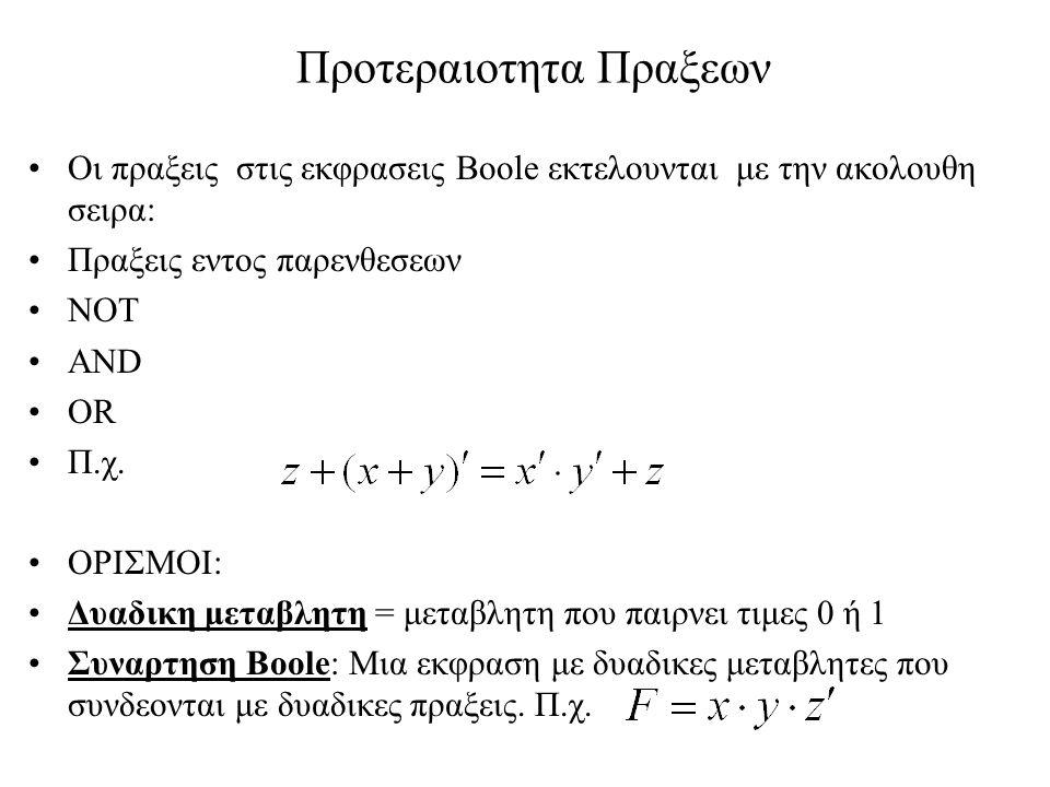 Συναρτησεις Boole Οι συναρτησεις Boole μπορουν να περιγραφουν: –Mε μια αλγεβρικη εκφραση, εστω n μεταβλητων –Με εναν πινακα αληθείας: Ο πινακας αληθειας συναρτησης με n μεταβλητες εχει 2 n γραμμες (ολες τις δυνατες n-αδες bits).