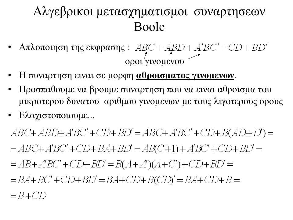 Μη επιμεριστικοτητα των NAND και NOR Θα δειξουμε οτι οι πραξεις NAND και NOR ειναι μη επιμεριστικες, δηλαδη οτι (x  y)  z  x  (y  z) και οτι (x  y)  z  x  (y  z): (x  y)  z = (xy)´  z = ((xy)´ z)´= xy+z´ x  (y  z) = x  (yz)´ = (x(yz)´)´ = x´ + yz  xy+z´ Oμοιως: (x  y)  z = (x+y)´  z = ((x+y)´+z)´ = (x+y)z´ = x z´+y z´ x  (y  z) = x  (y+z)´ = (x+(y+z)´)´= x´(y+z) = x´y+x´z  x z´+y z´ Η μη επιμεριστικοτητα των δυο αυτων πραξεων αποκλειει την συνθεση πυλων NAND και NOR με χρηση πυλων δυο εισοδων (οπως συμβαινει π.χ.