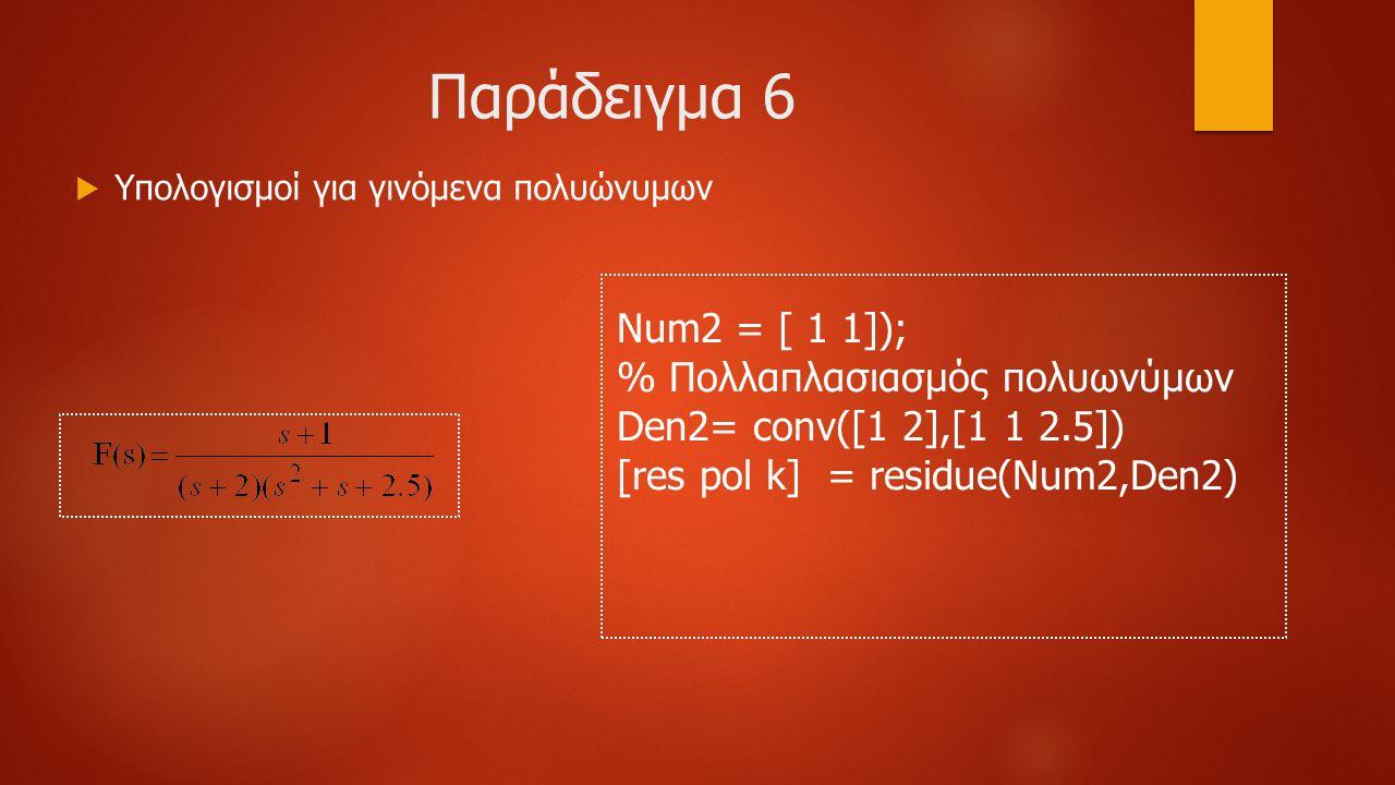 Παράδειγμα 6  Υπολογισμοί για γινόμενα πολυώνυμων Num2 = [ 1 1]); % Πολλαπλασιασμός πολυωνύμων Den2= conv([1 2],[1 1 2.5]) [res pol k] = residue(Num2,Den2)
