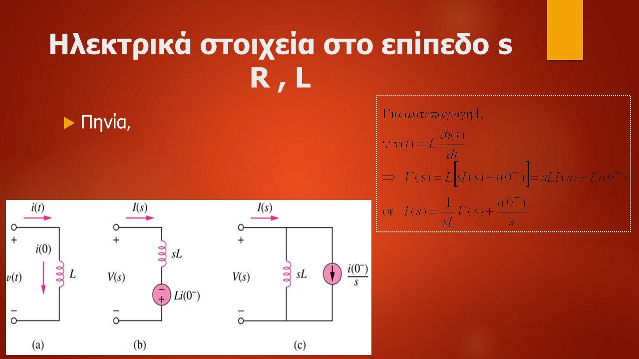 Ηλεκτρικά στοιχεία στο επίπεδο s R, L  Πηνία,