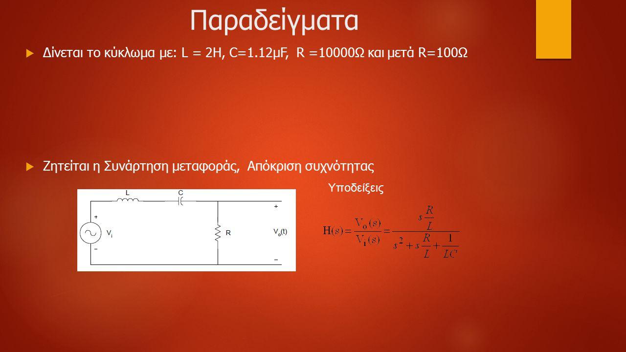Παραδείγματα  Δίνεται το κύκλωμα με: L = 2H, C=1.12μF, R =10000Ω και μετά R=100Ω  Ζητείται η Συνάρτηση μεταφοράς, Απόκριση συχνότητας Υποδείξεις