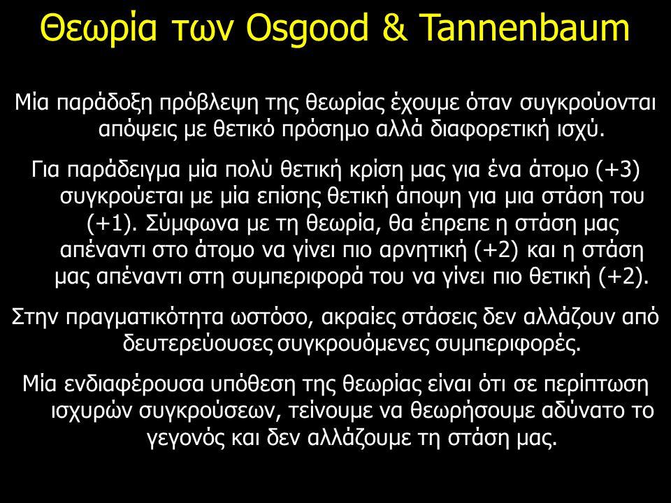 Θεωρία των Osgood & Tannenbaum Μία παράδοξη πρόβλεψη της θεωρίας έχουμε όταν συγκρούονται απόψεις με θετικό πρόσημο αλλά διαφορετική ισχύ. Για παράδει